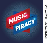 music piracy arrow tag sign. | Shutterstock .eps vector #487895365