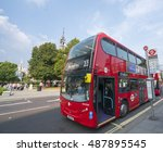 red buses in the streets london ... | Shutterstock . vector #487895545