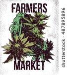 marijuana weed ganja vector...   Shutterstock .eps vector #487895896
