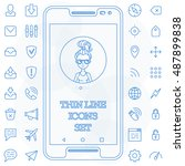 thin line icons set basic... | Shutterstock .eps vector #487899838