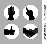 monochrome silhouette hands... | Shutterstock . vector #487904305