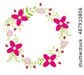 floral wreath vector...   Shutterstock .eps vector #487910806