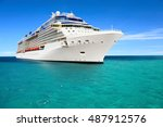 luxury cruise ship sailing to... | Shutterstock . vector #487912576