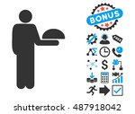 standing waiter pictograph with ... | Shutterstock .eps vector #487918042