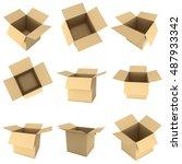 open box set. 3d render... | Shutterstock . vector #487933342
