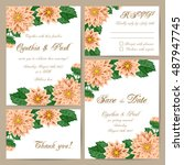 set of wedding cards with... | Shutterstock .eps vector #487947745