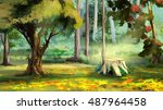beautiful view of old tree... | Shutterstock . vector #487964458