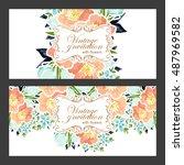 romantic invitation. wedding ... | Shutterstock . vector #487969582