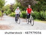 smiling elderly senior couple... | Shutterstock . vector #487979056