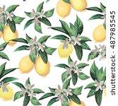 lemon seamless pattern on white ... | Shutterstock .eps vector #487985545