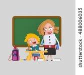 3d illustration. teacher woman  ... | Shutterstock . vector #488006035