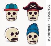 cartoon skull collection in cap ... | Shutterstock .eps vector #488007502