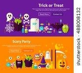 halloween scary party website...   Shutterstock .eps vector #488008132