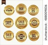 sale luxury golden labels... | Shutterstock .eps vector #488009836