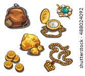 a set of jewelry and objects... | Shutterstock .eps vector #488024092