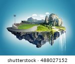 beautiful island floating on sky | Shutterstock . vector #488027152