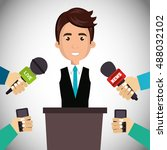 avatar man and news microphones | Shutterstock .eps vector #488032102