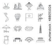 vietnam travel icons set in... | Shutterstock .eps vector #488051026