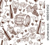seamless pattern with wine...   Shutterstock .eps vector #488054542