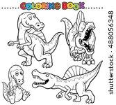 Cartoon Coloring Book Dinosaurs Character Stock Vector Royalty Free 488056348
