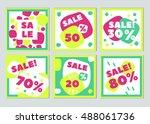 set of creative hand drawn sale ... | Shutterstock .eps vector #488061736