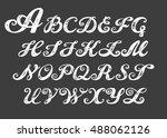 calligraphy alphabet typeset... | Shutterstock .eps vector #488062126