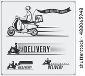 delivery service labels ... | Shutterstock .eps vector #488065948