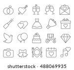 wedding outline web icon set | Shutterstock .eps vector #488069935