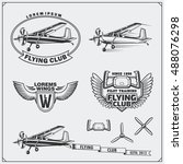 airplane club labels  emblems ... | Shutterstock .eps vector #488076298