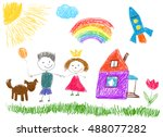 kids drawings.  | Shutterstock .eps vector #488077282