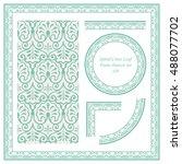 vintage border pattern 420... | Shutterstock .eps vector #488077702