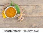 turmeric powder and turmeric in ... | Shutterstock . vector #488094562