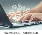 female hand typing on laptop ... | Shutterstock . vector #488101168