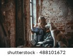 wooman with dog husky  huskies... | Shutterstock . vector #488101672