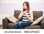 cute young woman at home...   Shutterstock . vector #488109682