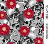 seamless vector skull in... | Shutterstock .eps vector #488112406
