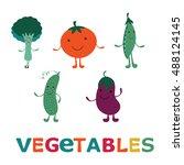 adorable vegetable cartoon...   Shutterstock .eps vector #488124145