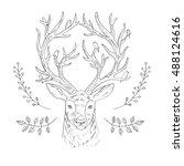 hand drawn vector horned deer... | Shutterstock .eps vector #488124616
