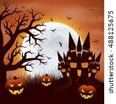 halloween background with... | Shutterstock .eps vector #488125675