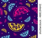 seamless fruit and citrus... | Shutterstock .eps vector #488134642