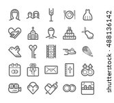 outline icon set   wedding | Shutterstock .eps vector #488136142