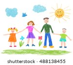 children drawing  happy family.  | Shutterstock .eps vector #488138455