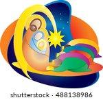 christmas nativity religious... | Shutterstock .eps vector #488138986