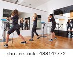 ems electro stimulation women... | Shutterstock . vector #488142772