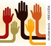 a united group of hands vector. | Shutterstock .eps vector #48814306
