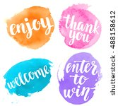 handwritten brush calligraphy... | Shutterstock .eps vector #488158612