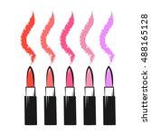 Lipsticks Colorful  Vector...