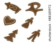 set of gingerbread christmas... | Shutterstock .eps vector #488185972