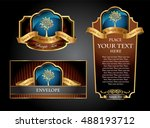 brown and blue gold framed set... | Shutterstock .eps vector #488193712