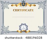 certificate or coupon template... | Shutterstock .eps vector #488196028